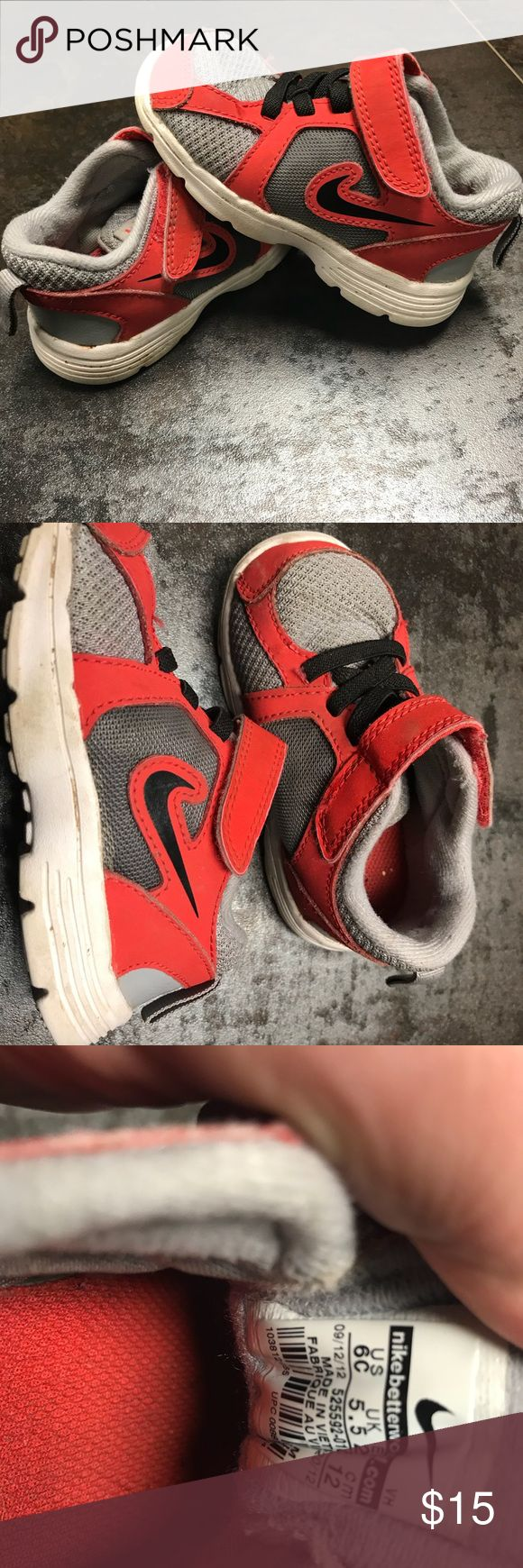 Size 6 toddlers Nike's Size 6 toddler Nike's. Red and grey. In great shape. Nike Shoes Sneakers