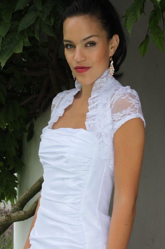 Short White Lace Bolero with Ruffle Trim