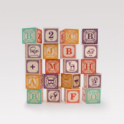 SWEDISH ABC BLOCKS & BAG