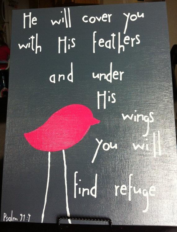 psalm 91:4 art for little bird's room