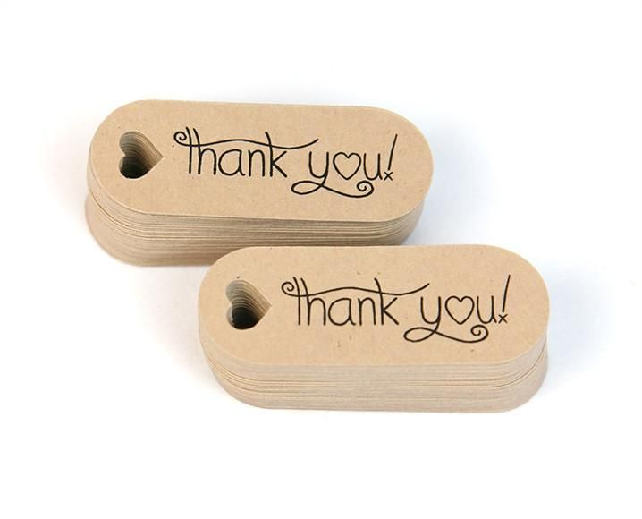 "Thank You Mini Hang Tags - Small Favor Tags  - 0.7"" by 1.9""- 50pk"