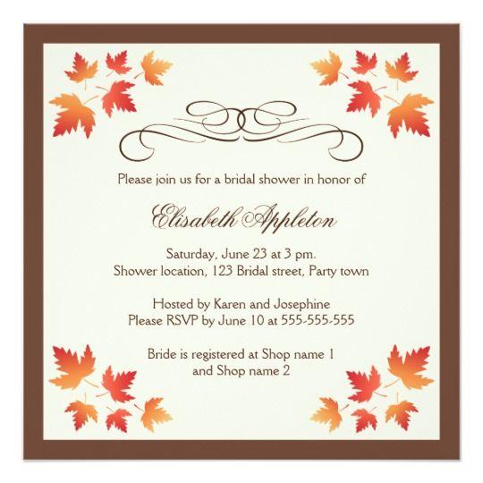 Orange autumn leaves elegant fall bridal shower card