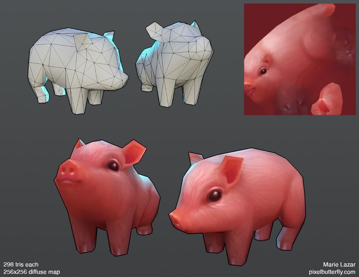 The Portfolio of Marie Lazar #lowpoly #pig #cg #render #model #animal #piglet #cute