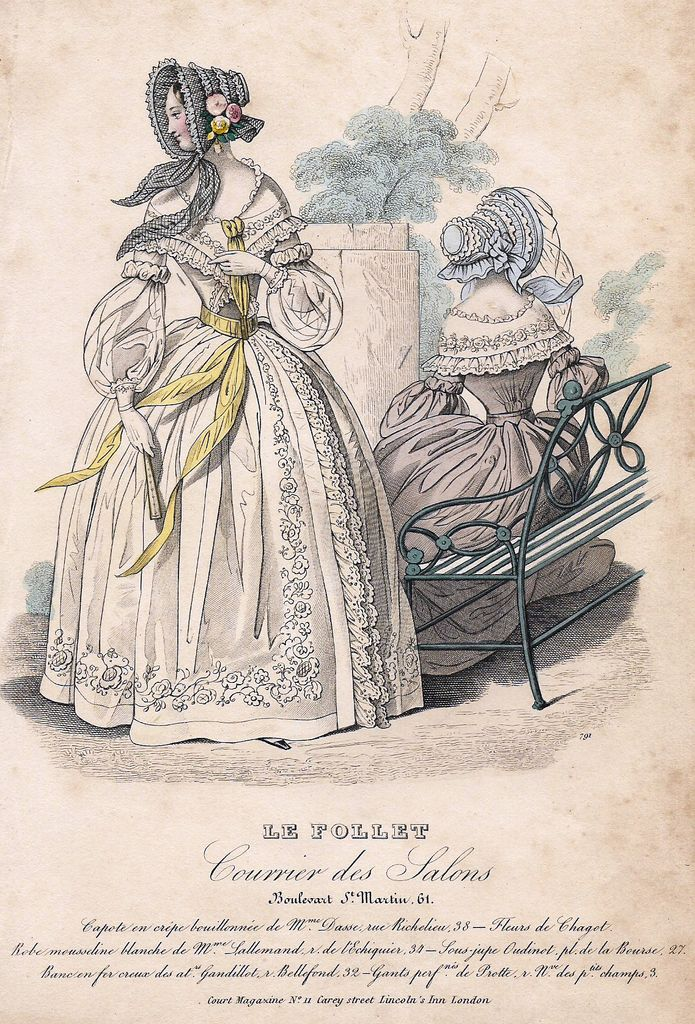 "Le Follet Fashion Plate - 1850 - ""COURIER DES SALONS"" - H-C Lithograph"