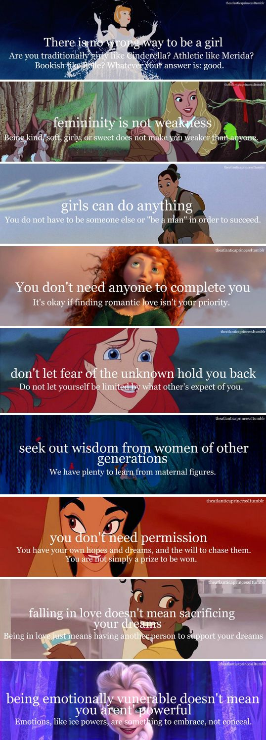 Dont let the fact that its done with disney characters sway you. The message here is amazing. I feel like a lot of people dont understand that feminism isnt about being more manly or looking down on being a softer or girly person. Its about having the right to be equal and being able to choose the kind of person you want to be not told that because you are female you have to be a certain way.