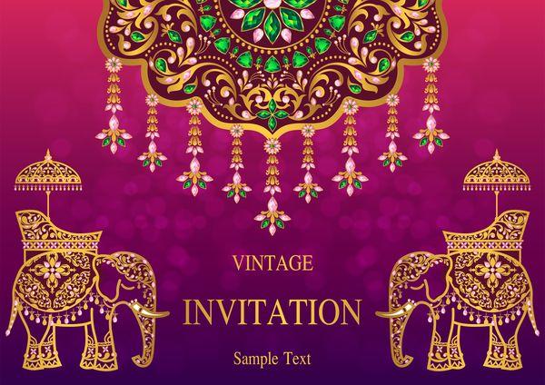 Indien Stilar Vintage Inbjudan Vektor Adresskortsmallen 02