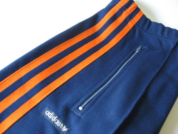 GOT it. Base for home outfit.... Vintage Adidas track pants navy blue with bright orange stripe