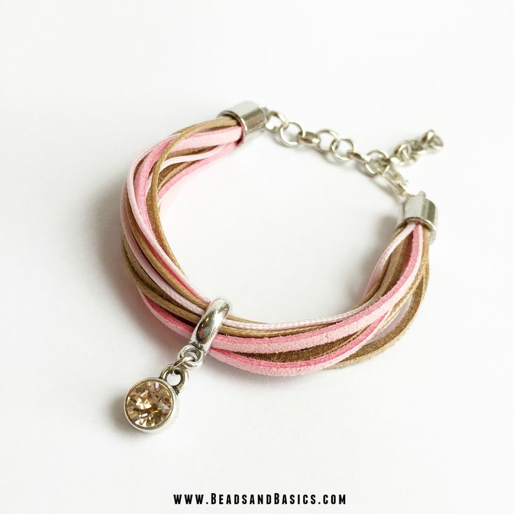 Suede Veter en Waxkoord Armband tutorial DIY- Online Kralen Kopen | Beads & Basics Armbandjes maken. Bracelet, Swarovski