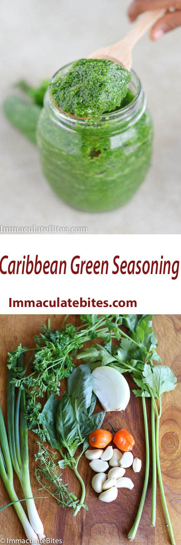 Caribbean  Green seasoning  It's quick and easy, paleo, Vegan , gluten-free . Simply Delicious on Grill foods and Stews.