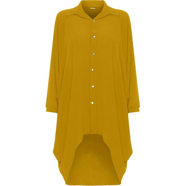 WearAll Plus Size Batwing Shirt Dress (1,660 INR) ❤ liked on Polyvore featuring dresses, mustard, flare sleeve dress, yellow dress, long sleeve shirt dress, t-shirt dresses and plus size hi low dresses