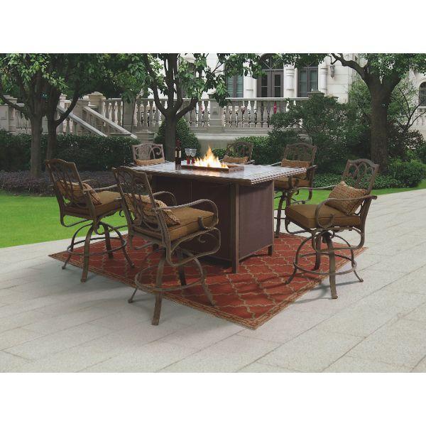 Bennington 7 Piece Bar Dining Set With Fire
