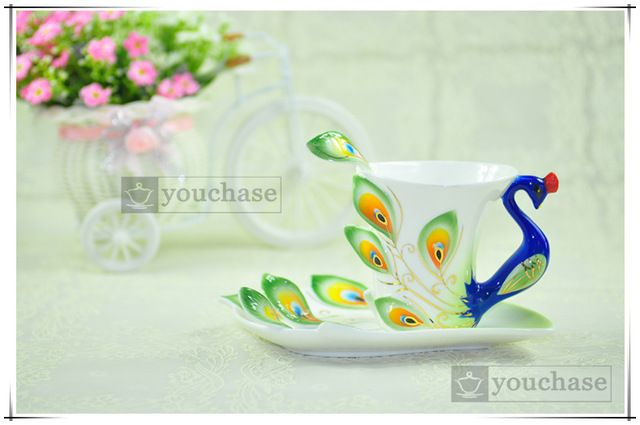 Porselein emaille Mokken pauw koffie thee set cup mode keramische mode…