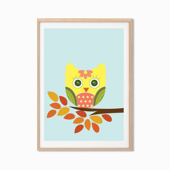 Owl poster modern animal illustration retro art wall for Retro wall art