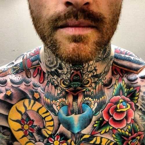 Mens Neck #Tattoo With Bright Colors