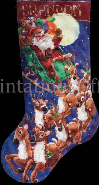 Rare Rossi Santa Claus Reindeer Needlepoint Stocking Kit Up Away