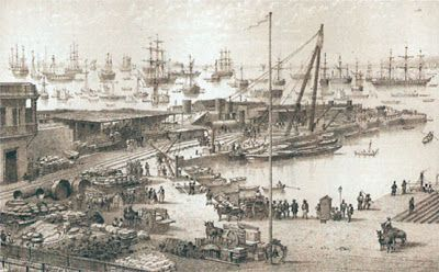 Puerto de Antofagasta durante la Guerra del Pacífico.
