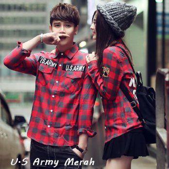 kemeja couple kerah pasangan us army merah elevenia