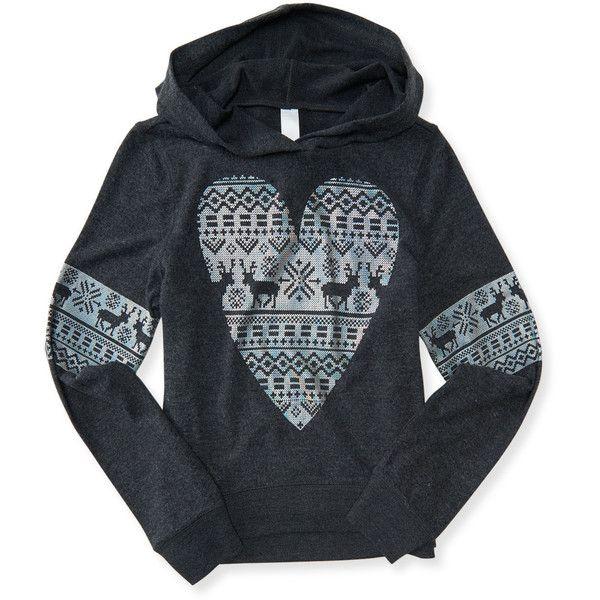 Aeropostale Kids' Fair Isle Reindeer Pullover Hoodie ($20) ❤ liked on Polyvore featuring tops, hoodies, charcoal heather grey, aeropostale hoodie, hoodie pullover, aeropostale hoodies, striped hoodies and charcoal hoodie