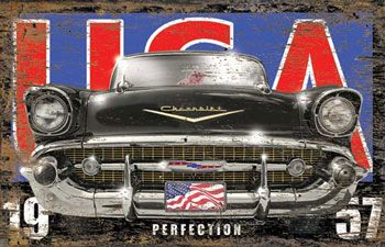 1957 Chevrolet USA Vintage Wooden Sign - www.garageart.com