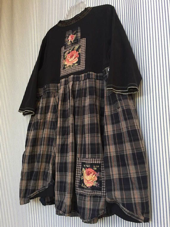 Upcycled Black Plaid Shabby Chic Henley Jersey Knit Tunic top with cute trim on Neckline, 3/4 sleeves French Country Patchwork Applique Roses 2 front Pockets. Cute with a pair of Black Leggings fits Size Medium to Large to XL Measured with garment laying flat 23 across armpit to
