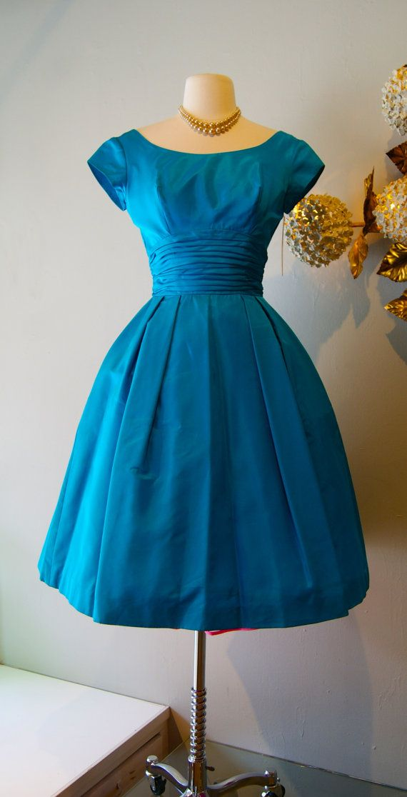 Vintage 1950s Party Dress  50s Turquoise Cocktail by xtabayvintage