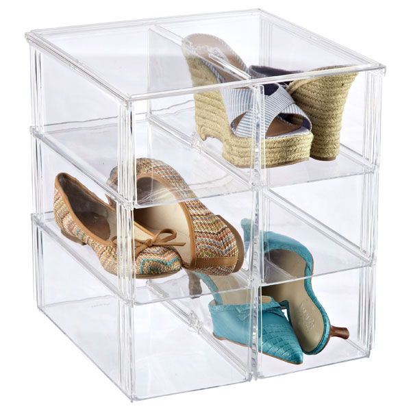 """Premium Stacking Shoe Bin  container store 2 pieces $8 each, plus one more = 21. 12"""" x4"""""""