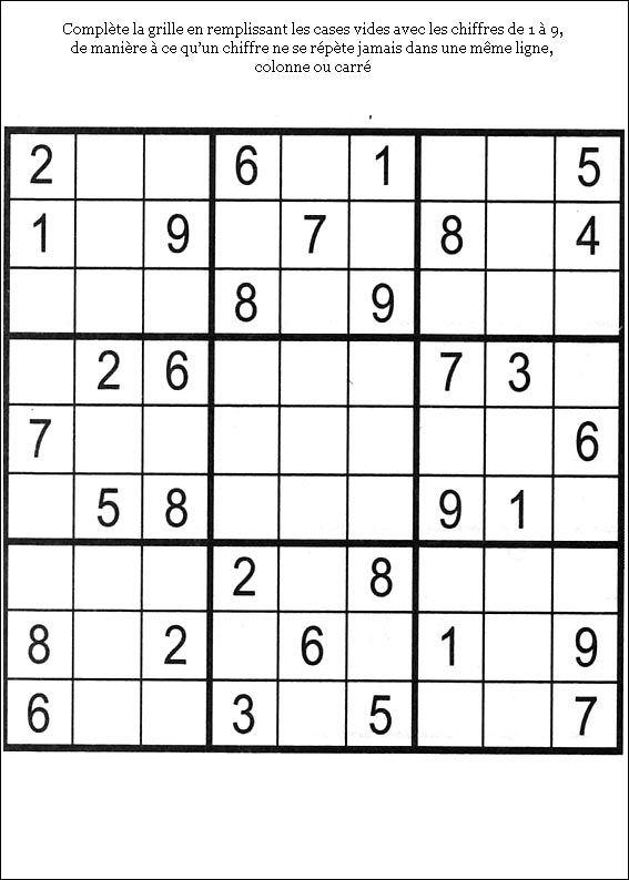 Jeux du sudoku à imprimer