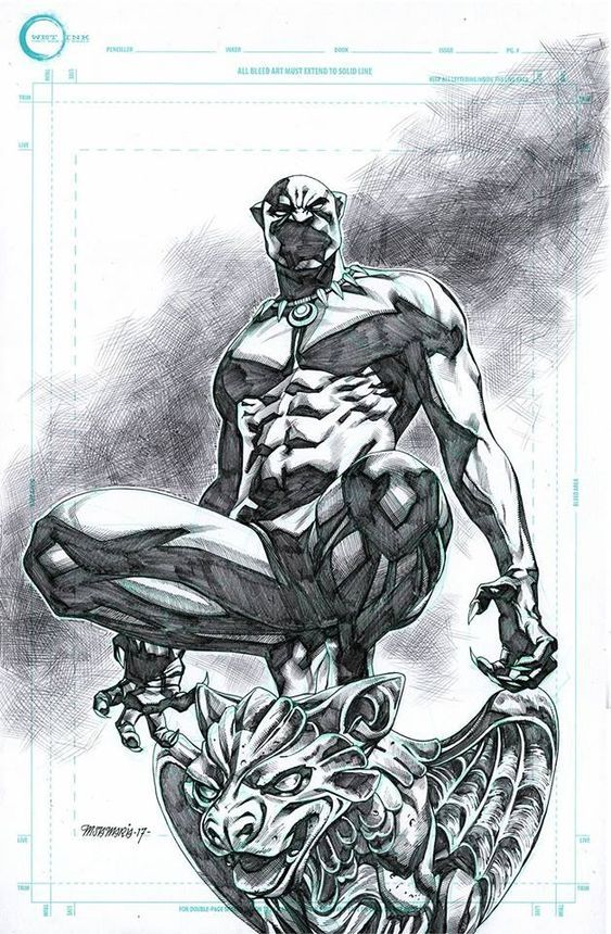 Black Panther Original Pencils Michael Sta Maria Inks Over