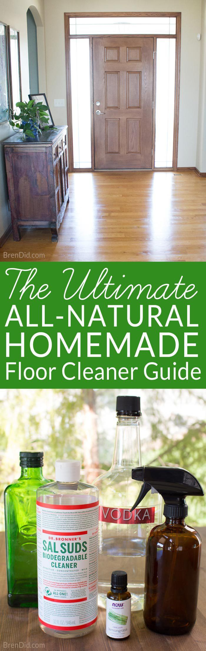 This guide to natural floor cleaning & homemade floor cleaner recipe will keep all your hard surfaces in tip top shape. All purpose natural floor cleaner for hardwood, laminate, tile and more. Best DIY floor cleaning recipe.