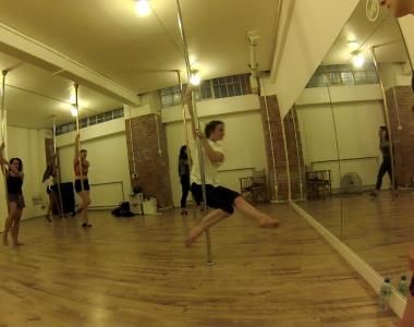 Pole dancing with London Dance Academy.