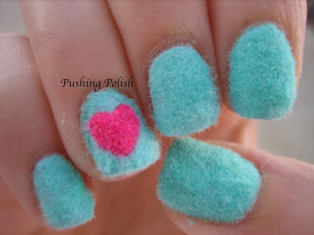 Fuzzy Heart Sweater Nails