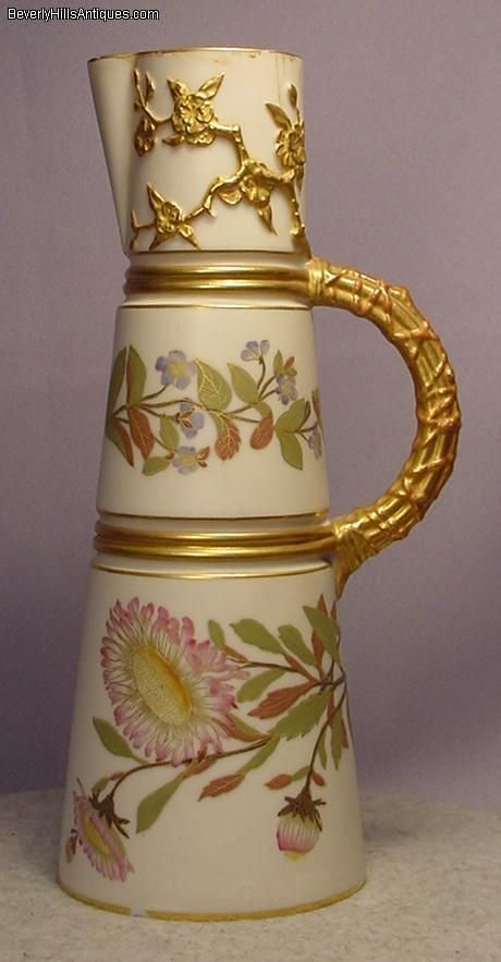 Tall Antique Royal Worcester Decorative Pitcher.