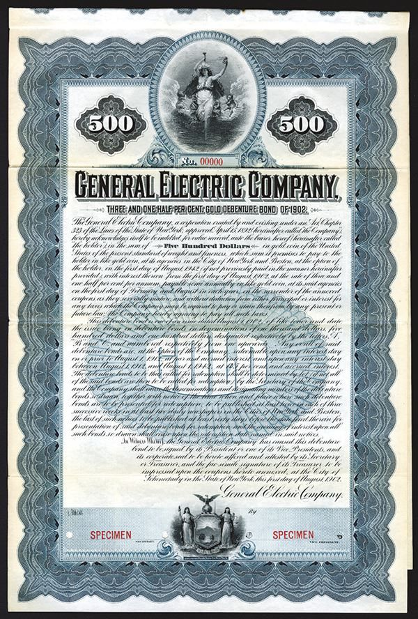 general electric company historic 1902 specimen bond archives international auctions