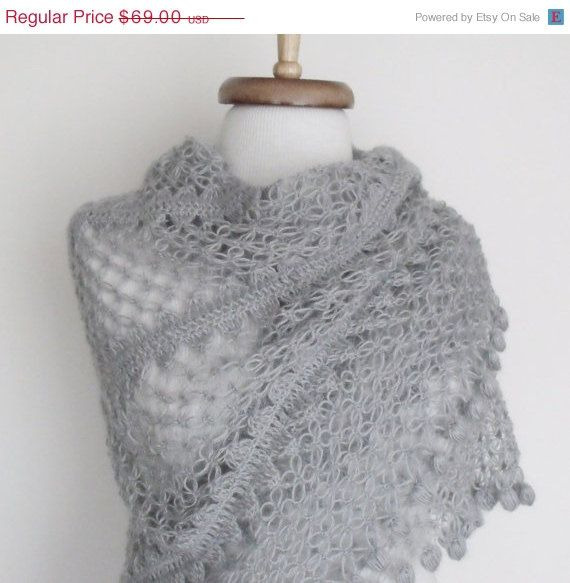 ON SALE Grey Bridal CASHMERE Mohair shawl-Ready to by knittingshop