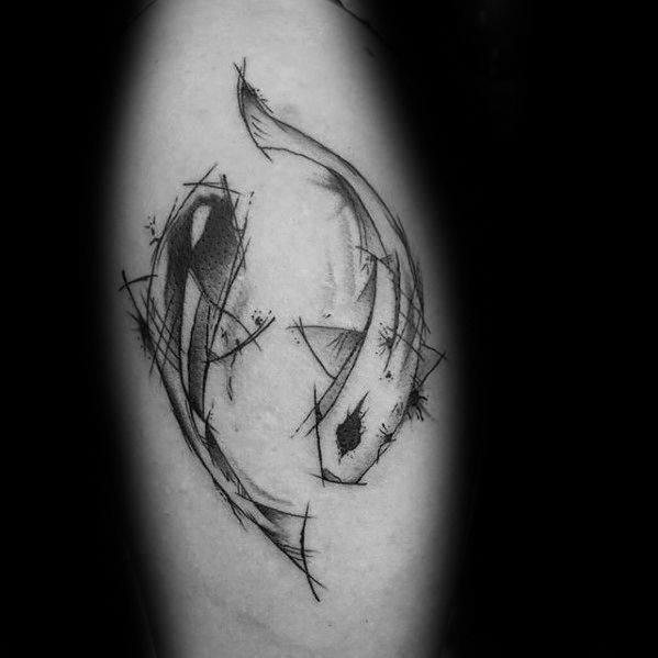Yin Yang Koi Fish Sketchd Watercolor Leg Calf Male Tattoo Designs
