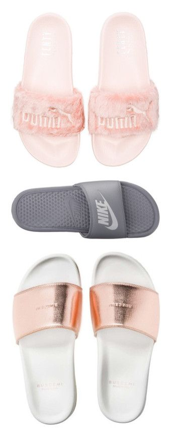 """""""Slides💸😛"""" by babybreee ❤ liked on Polyvore featuring shoes, sandals, flats, puma, schuhe, flat heel sandals, slip-on shoes, rubber sole sandals, puma footwear and puma shoes"""