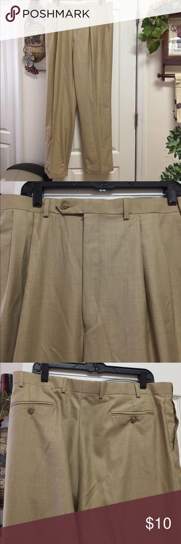 Ralph Lauren Men's Slacks 38/34 polyester/rayon Excellent used condition Ralph Lauren men's slacks. Pleated front, hook and button closure. Cuffed polyester and rayon blend. Ralph Lauren Pants Dress