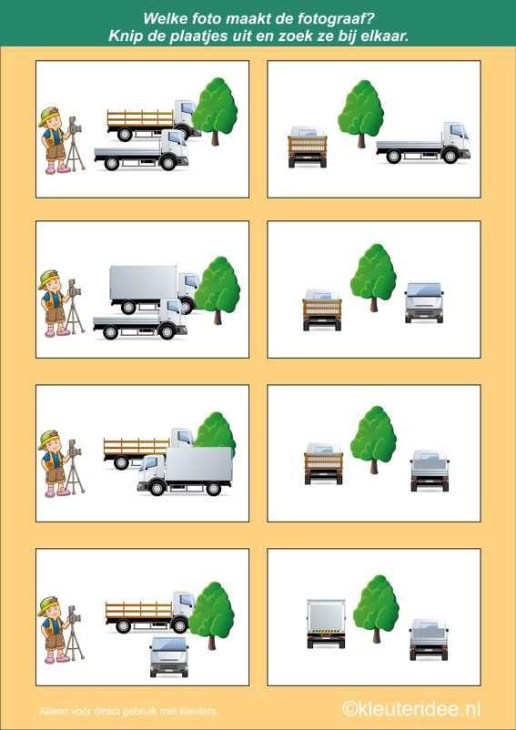 Welke foto maakt de fotograaf 3, kleuteridee.nl , denkontwikkeling en ruimtelijk inzicht voor kleuters, free printable.