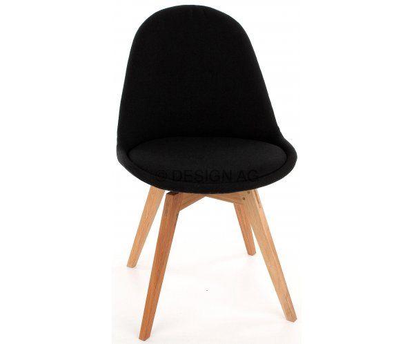 Krzesło Nowoczesne Donna Czarne Tkanina Nogi Bess Drewniane  - 616zl