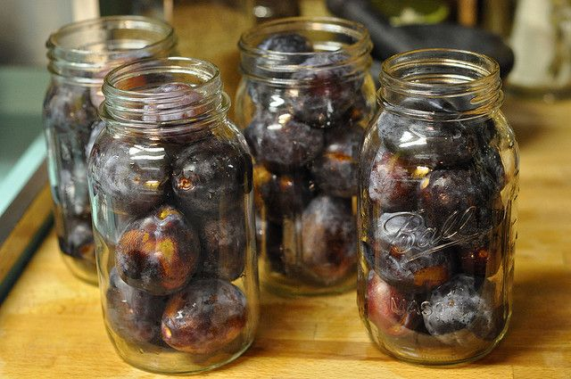 Plums preserved in honey. Totally making these with parents in law's plums and then giving them back for Rosh Hashanah :)