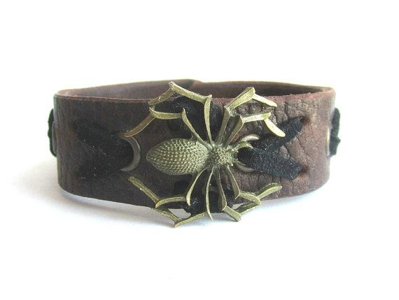 Mens spider bracelet mens leather cuff bracelet by Bravemenjewelry