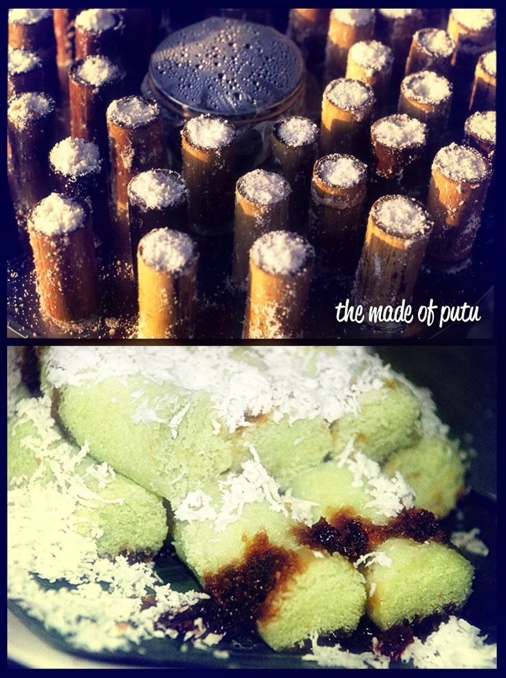 Kue Putu - Traditional Indonesian sweets: steamed cakes filled with palm sugar syrup inside