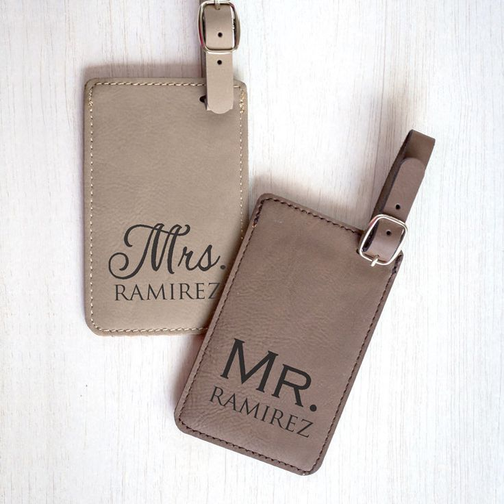 Shop & personalize now: Our Mr. & Mrs. luggage tags make a unique, personalized wedding gift for the bride and groom. The luggage tags are travel-ready their honeymoon.