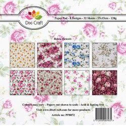 Dixi Craft - Mały bloczek papierów do scrapbookingu - Retro Flowers