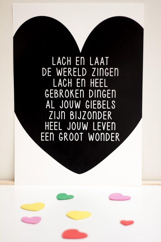 Lach en laat de wereld zingen… Een van de populairste kaarten is er nu ook als poster. Mooi voor op een kinderkamer!