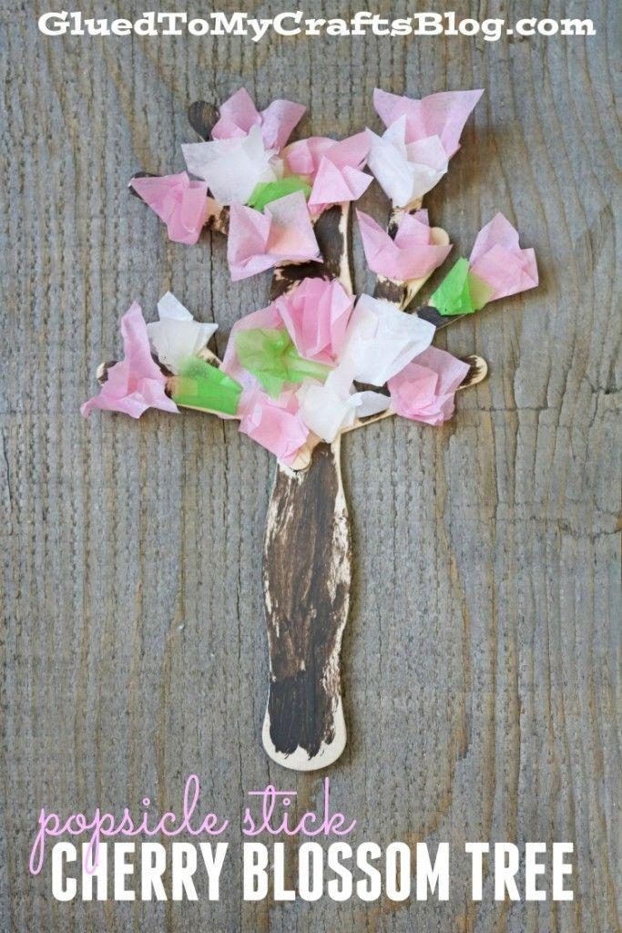 Popsicle Stick Cherry Blossom Tree