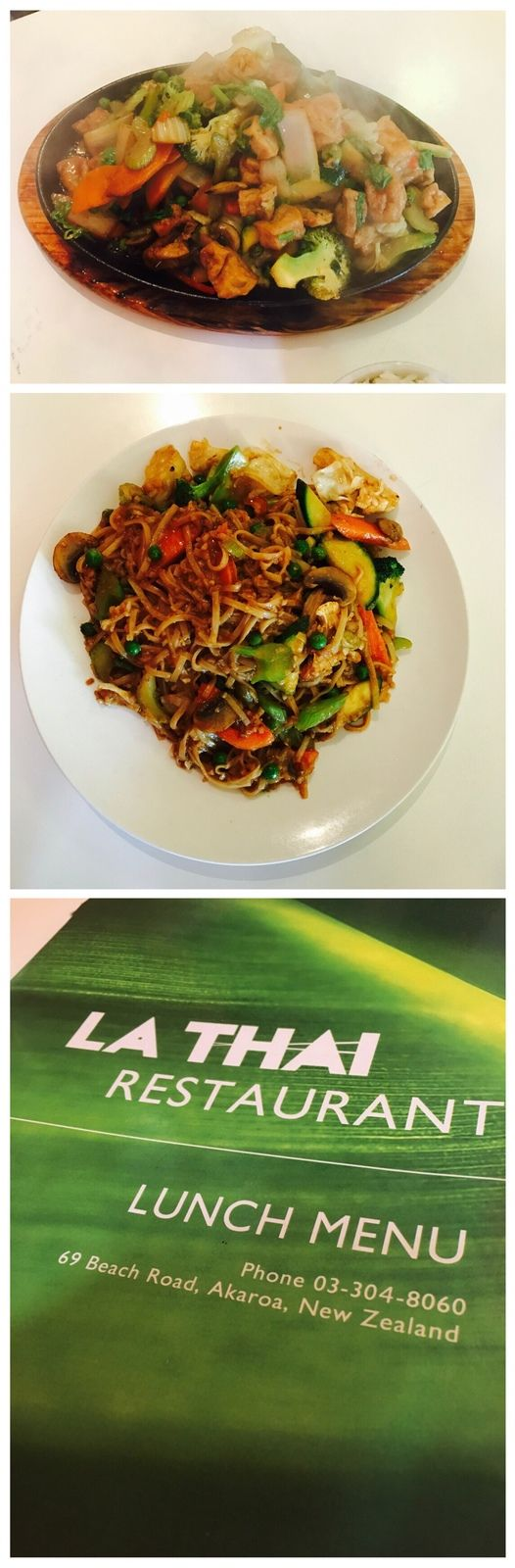 """Found a Thai in Akaroa that knew how to make food vegan! Stir fried vegetables and tofu in peanut sauce and """"The Sizzler"""". Best name ever! 😋"""