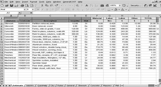 Roof cost estimation general construction sheet roof for Architectural materials list