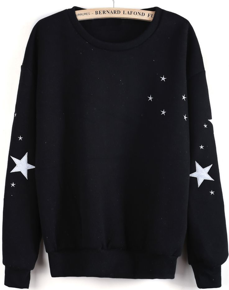 Black Long Sleeve Stars Embroidered Sweatshirt GBP£14.03