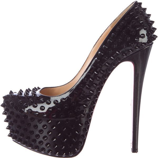Pre-owned Christian Louboutin Daffodile Spike Pumps ($825) ❤ liked on Polyvore featuring shoes, pumps, black, spike shoes, black pumps, black spiked shoes, black patent leather pumps and black shoes